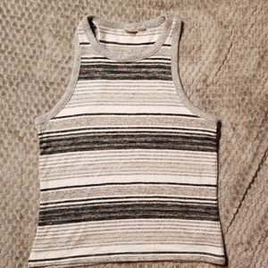 Striped Ribbed Cropped Racerback Tanktop